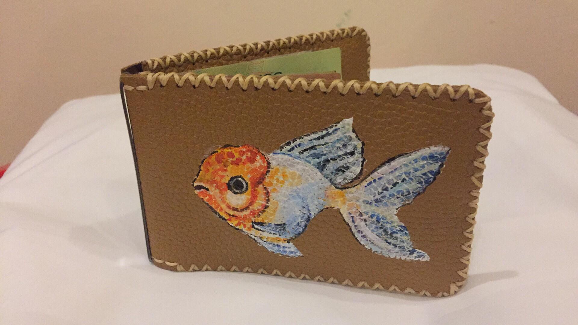 Ví kẹp tiền vẽ trang trí con cá