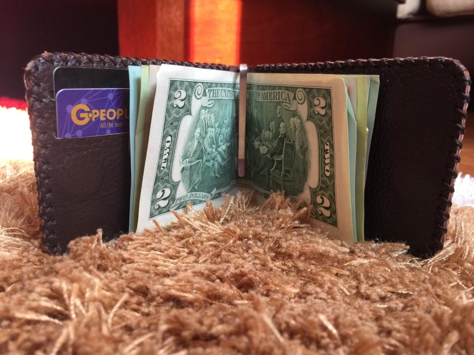 Bóp ví da kẹp tiền nâu đỏ