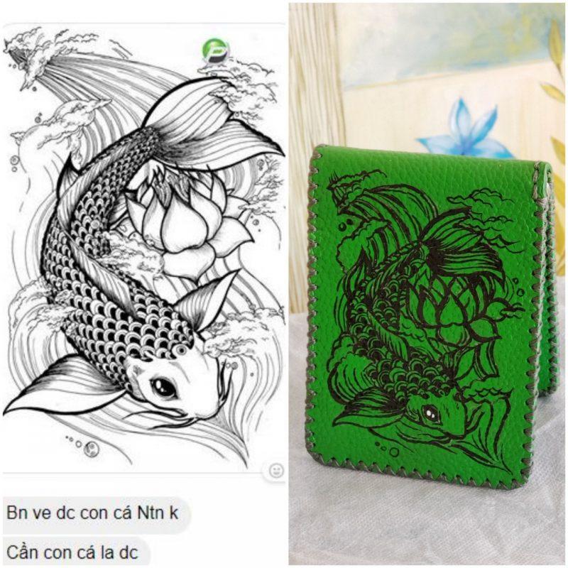 Ví da vẽ tay màu xanh lá cây hình con cá mã VNTXR