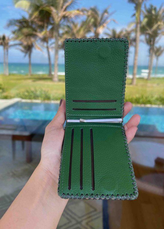 Ví da nam màu xanh lá cây tài lộc SW0003 giá rẻ SoWe Leather